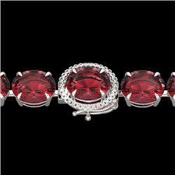 65 CTW Pink Tourmaline & Micro VS/SI Diamond Halo Bracelet 14K White Gold - REF-772T2M - 22273