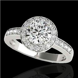 1.4 CTW H-SI/I Certified Diamond Solitaire Halo Ring 10K White Gold - REF-180A2X - 34342