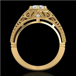 1.07 CTW VS/SI Diamond Solitaire Art Deco Ring 18K Yellow Gold - REF-322X5T - 36919