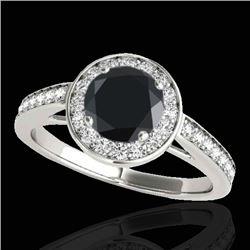 1.45 CTW Certified VS Black Diamond Solitaire Halo Ring 10K White Gold - REF-65F3N - 33799