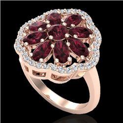 3 CTW Garnet & VS/SI Diamond Cluster Designer Halo Ring 10K Rose Gold - REF-52T2M - 20781
