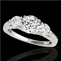1.75 CTW H-SI/I Certified Diamond 3 Stone Ring 10K White Gold - REF-236F4N - 35349