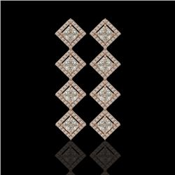 5.31 CTW Princess Cut Diamond Designer Earrings 18K Rose Gold - REF-978N4Y - 42801