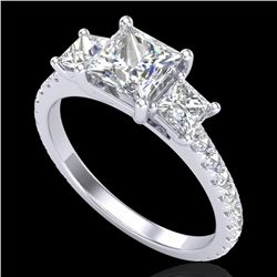 2.14 CTW Princess VS/SI Diamond Art Deco 3 Stone Ring 18K White Gold - REF-454A5X - 37205