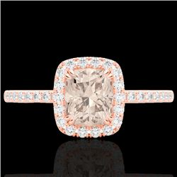 1.25 CTW Morganite & Micro Pave VS/SI Diamond Halo Ring 10K Rose Gold - REF-40W9F - 22907