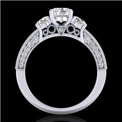 2.07 CTW VS/SI Diamond Solitaire Art Deco 3 Stone Ring 18K White Gold - REF-270T2M - 37016