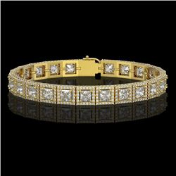 15.87 CTW Princess Diamond Designer Bracelet 18K Yellow Gold - REF-2895H8A - 42637