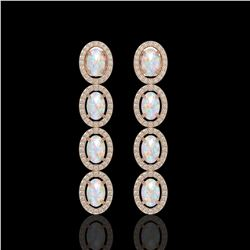 4.05 CTW Opal & Diamond Halo Earrings 10K Rose Gold - REF-112W8F - 40518