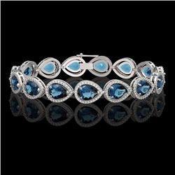 21.06 CTW London Topaz & Diamond Halo Bracelet 10K White Gold - REF-293A3X - 41270