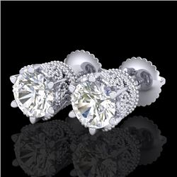2.04 CTW VS/SI Diamond Solitaire Art Deco Stud Earrings 18K White Gold - REF-361A8X - 37241