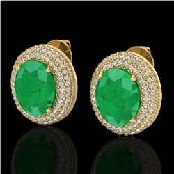 9.20 CTW Emerald & Micro Pave VS/SI Diamond Earrings 18K Yellow Gold - REF-190H2A - 20224
