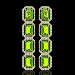 17.81 CTW Peridot & Diamond Halo Earrings 10K Yellow Gold - REF-220F8N - 41599