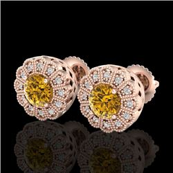 1.32 CTW Intense Fancy Yellow Diamond Art Deco Stud Earrings 18K Rose Gold - REF-218Y2K - 37841