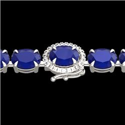 37 CTW Sapphire & VS/SI Diamond Tennis Micro Pave Halo Bracelet 14K White Gold - REF-272K8W - 23423