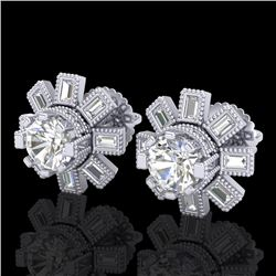 1.77 CTW VS/SI Diamond Solitaire Art Deco Stud Earrings 18K White Gold - REF-263H6A - 37064