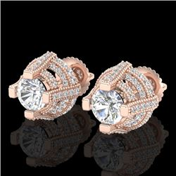 2.75 CTW VS/SI Diamond Solitaire Micro Pave Stud Earrings 18K Rose Gold - REF-320T2M - 36951