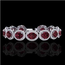 27 CTW Garnet & Micro Pave VS/SI Diamond Bracelet 10K White Gold - REF-360X2T - 22688