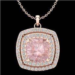 1.97 CTW Morganite & Micro VS/SI Diamond Halo Necklace 14K Rose Gold - REF-76H4A - 20459
