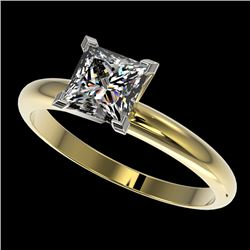 1.25 CTW Certified VS/SI Quality Princess Diamond Solitaire Ring 10K Yellow Gold - REF-372W3F - 3291