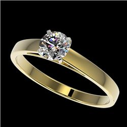 0.53 CTW Certified H-SI/I Quality Diamond Solitaire Engagement Ring 10K Yellow Gold - REF-54M2H - 36