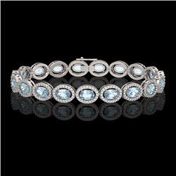 14.82 CTW Sky Topaz & Diamond Halo Bracelet 10K White Gold - REF-228A2X - 40481