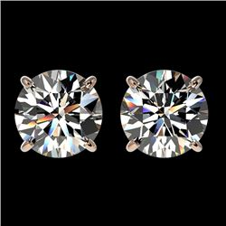 1.94 CTW Certified H-SI/I Quality Diamond Solitaire Stud Earrings 10K Rose Gold - REF-285T2M - 36626