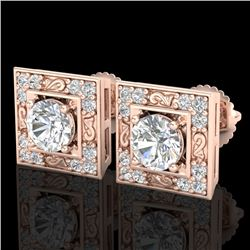 1.63 CTW VS/SI Diamond Solitaire Art Deco Stud Earrings 18K Rose Gold - REF-254M5H - 37269