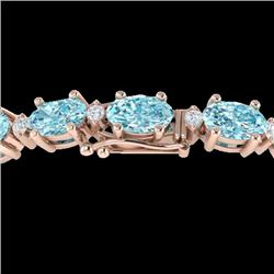 14 CTW Sky Blue Topaz & VS/SI Diamond Eternity Bracelet 10K Rose Gold - REF-73X6T - 21442