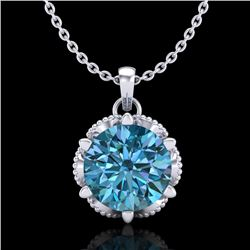 1.36 CTW Fancy Intense Blue Diamond Solitaire Art Deco Necklace 18K White Gold - REF-180T2M - 38104
