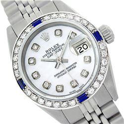 Rolex Men's Stainless Steel, QuickSet, Diam Dial & Diam/Sapphire Bezel - REF-521A6N