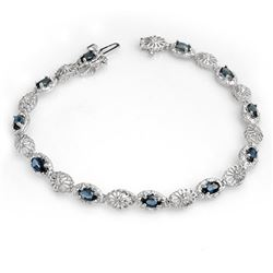 4.82 CTW Blue Sapphire & Diamond Bracelet 10K White Gold - REF-43X5T - 13922