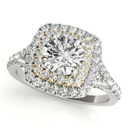 1.04 CTW Certified VS/SI Diamond Solitaire Halo Ring 18K White & Yellow Gold - REF-134W9F - 26234
