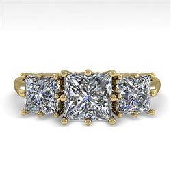 2.0 CTW Past Present Future VS/SI Princess Diamond Ring 18K Yellow Gold - REF-414X2T - 35917