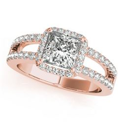 1.26 CTW Certified VS/SI Princess Diamond Solitaire Halo Ring 18K Rose Gold - REF-246H9A - 27136