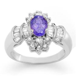1.76 CTW Tanzanite & Diamond Ring 18K White Gold - REF-90W5F - 10567