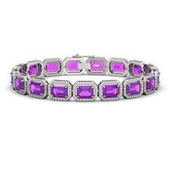 22.81 CTW Amethyst & Diamond Halo Bracelet 10K White Gold - REF-302M9H - 41417