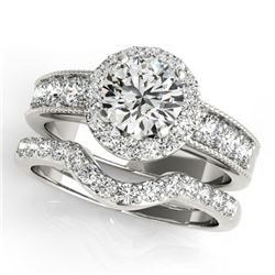 2.21 CTW Certified VS/SI Diamond 2Pc Wedding Set Solitaire Halo 14K White Gold - REF-432W9F - 31313