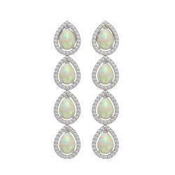 6.2 CTW Opal & Diamond Halo Earrings 10K White Gold - REF-148M9H - 41153