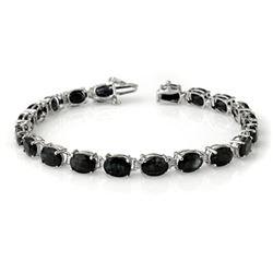28.50 CTW Blue Sapphire Bracelet 10K White Gold - REF-94F5N - 13962