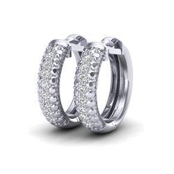 0.15 CTW Micro Pave Hoop VS/SI Diamond Earrings 10K White Gold - REF-26M2H - 22484