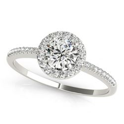 1.2 CTW Certified VS/SI Diamond Solitaire Halo Ring 18K White Gold - REF-354F2N - 26353