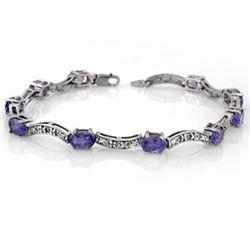 4.25 CTW Tanzanite & Diamond Bracelet 14K White Gold - REF-84F9N - 10373