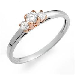 0.33 CTW Certified VS/SI Diamond 3-Stone Ring 14K 2-Tone Gold - REF-27A3X - 10170
