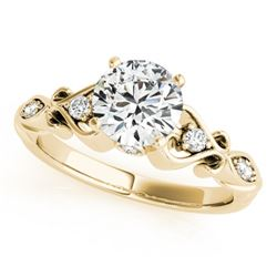 0.9 CTW Certified VS/SI Diamond Solitaire Antique Ring 18K Yellow Gold - REF-195H3A - 27422