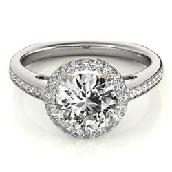 0.8 CTW Certified VS/SI Diamond Solitaire Halo Ring 18K White & Yellow Gold - REF-136T2M - 26956
