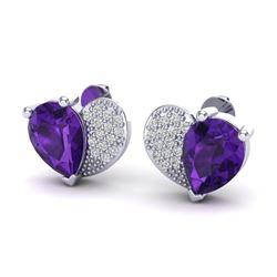 2.50 CTW Amethyst & Micro Pave VS/SI Diamond Earrings 10K White Gold - REF-30A2X - 20064
