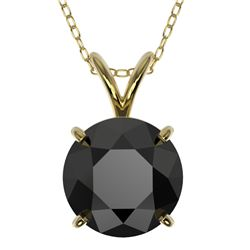 2 CTW Fancy Black VS Diamond Solitaire Necklace 10K Yellow Gold - REF-43H2A - 33235