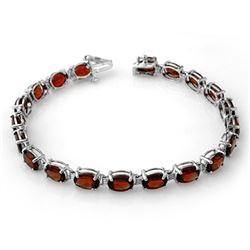 21.0 CTW Garnet Bracelet 10K White Gold - REF-56N8Y - 13709
