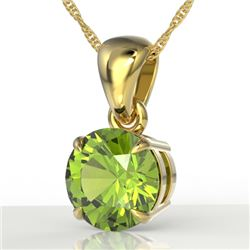 2 CTW Peridot Designer Inspired Solitaire Necklace 18K Yellow Gold - REF-27X8T - 22034