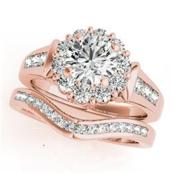 1.56 CTW Certified VS/SI Diamond 2Pc Wedding Set Solitaire Halo 14K Rose Gold - REF-182M4H - 31245